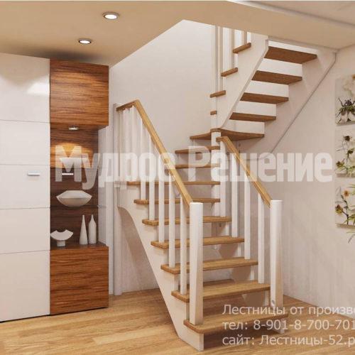 П-образная деревянная лестница на второй этаж вид 1