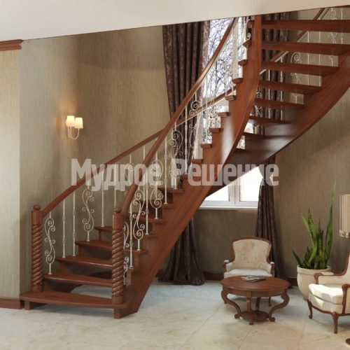 Винтовая деревянная лестница вид 4
