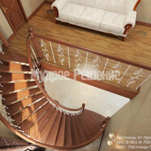 Винтовая деревянная лестница вид 1