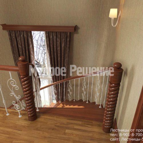 Винтовая деревянная лестница вид 3