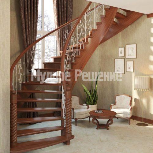 Винтовая деревянная лестница вид 5