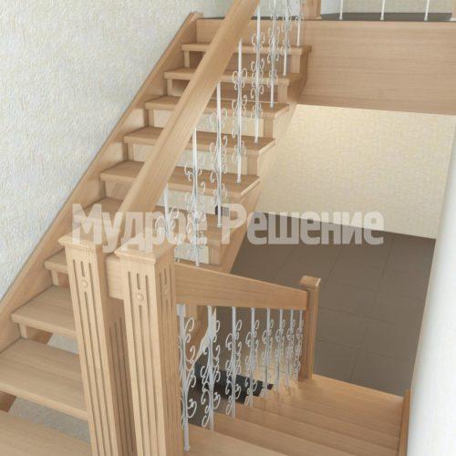 Деревянная лестница на второй этаж модель 28 вид 2