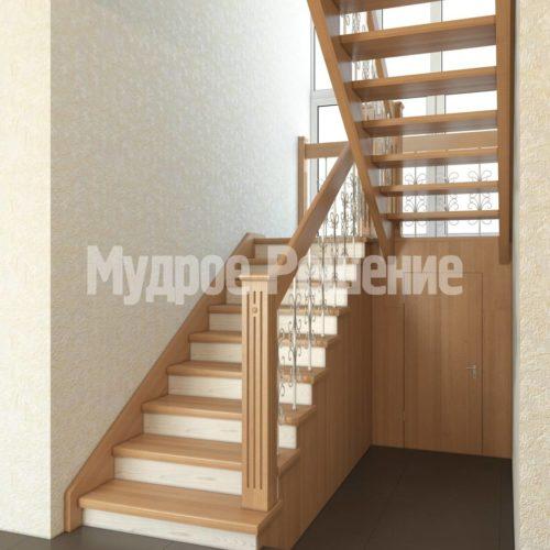Деревянная лестница на второй этаж модель 28 вид 1