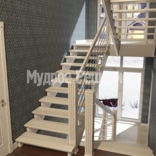 П-образная лестница из дерева вид 2