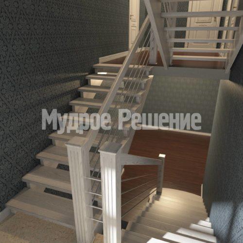 П-образная лестница из дерева вид 3