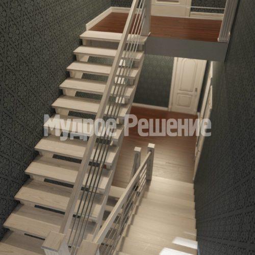 П-образная лестница из дерева вид 4