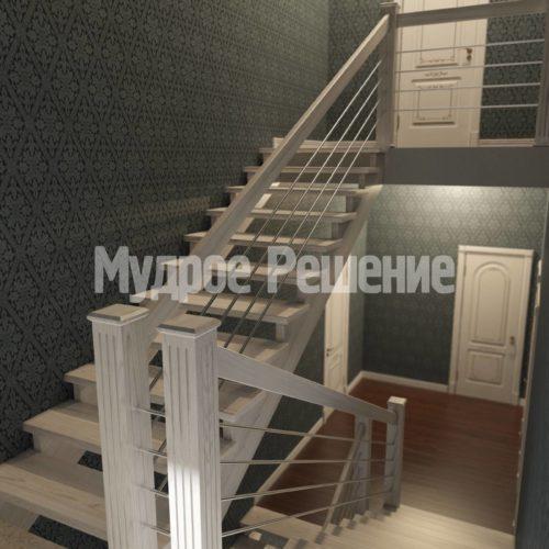 П-образная лестница из дерева вид 5