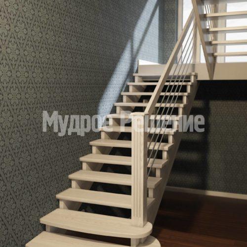П-образная лестница из дерева вид 1