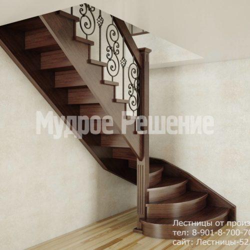 Г-образная лестница из дерева вид 2