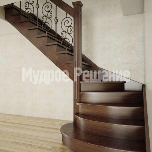 Г-образная лестница из дерева вид 1