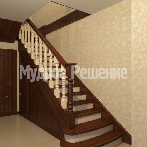 Лестница деревянная модель 10 вид 1