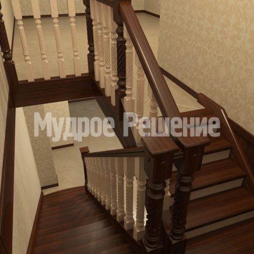 Лестница деревянная модель 10 вид 2