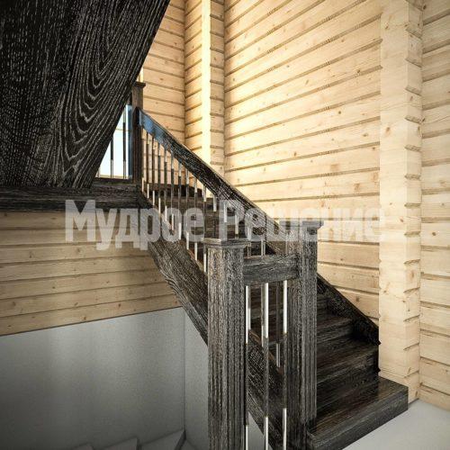 Деревянная лестница на второй этаж вид 1