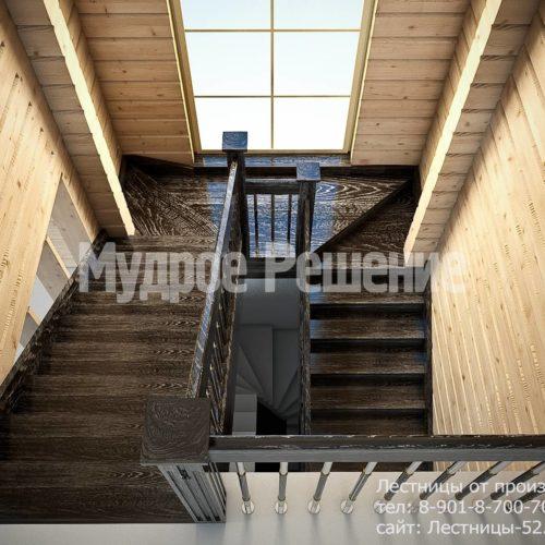 Деревянная лестница на второй этаж вид 2
