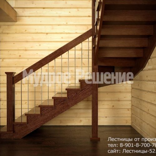 Строгая лестница на второй этаж из дерева вид 2