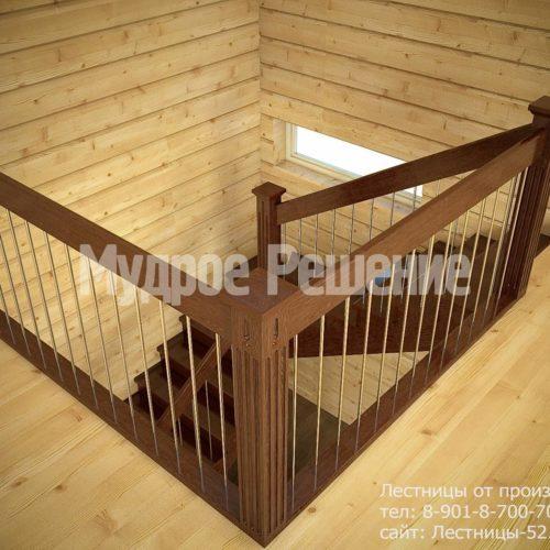 Строгая лестница на второй этаж из дерева вид 3