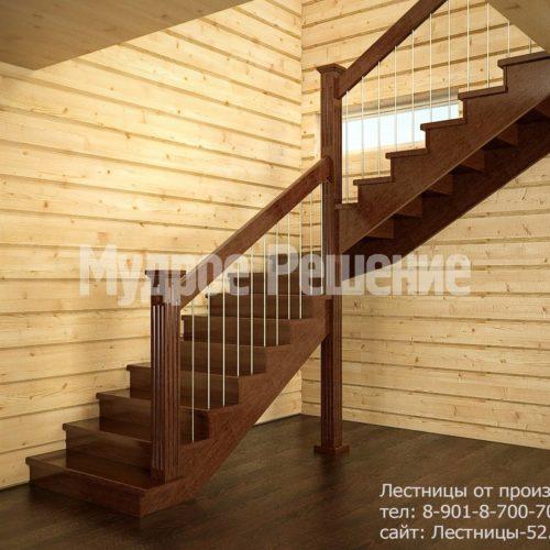 Строгая лестница на второй этаж из дерева вид 1