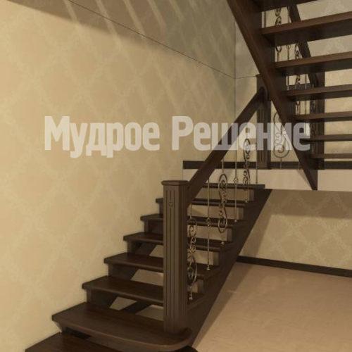 Лестница из дерева на второй этаж вид 1