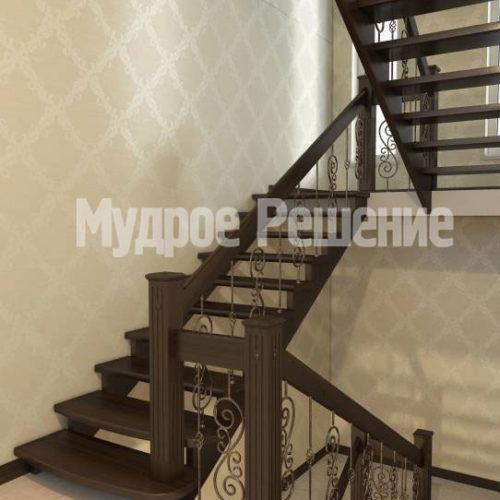 Лестница из дерева на второй этаж вид 2