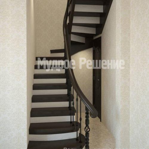 Изогнутая лестница из дерева вид 1