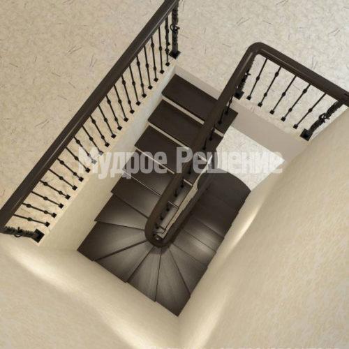 Изогнутая лестница из дерева вид 3