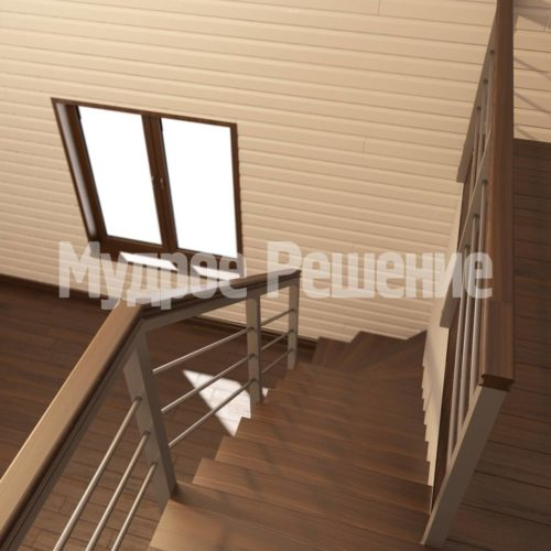 Лестница на металлокаркасе вид 2