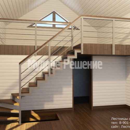 Лестница на металлокаркасе вид 1