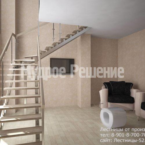 Лестница на металлокаркасе на второй этаж вид 1