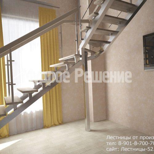 Лестница на металлокаркасе на второй этаж вид 2