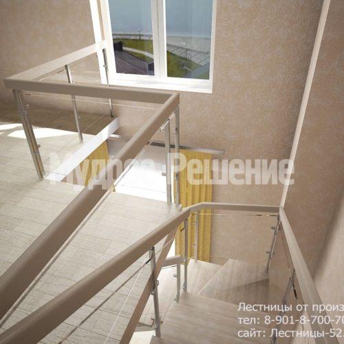 Лестница на металлокаркасе на второй этаж вид 3