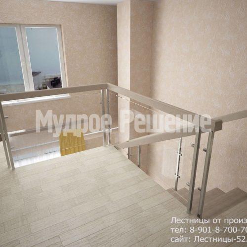 Лестница на металлокаркасе на второй этаж вид 4