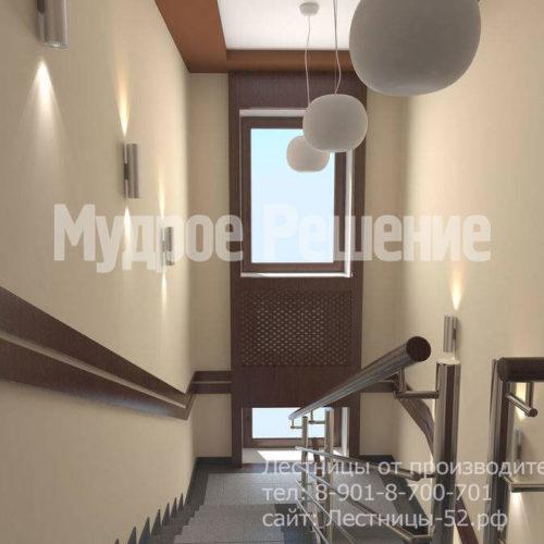 Бетонная лестница с металлическими перилами вид 2