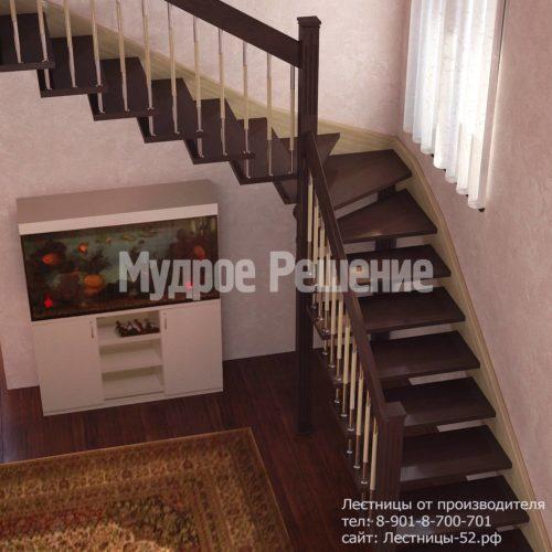 Г-образная деревянная лестница на больцах вид 1