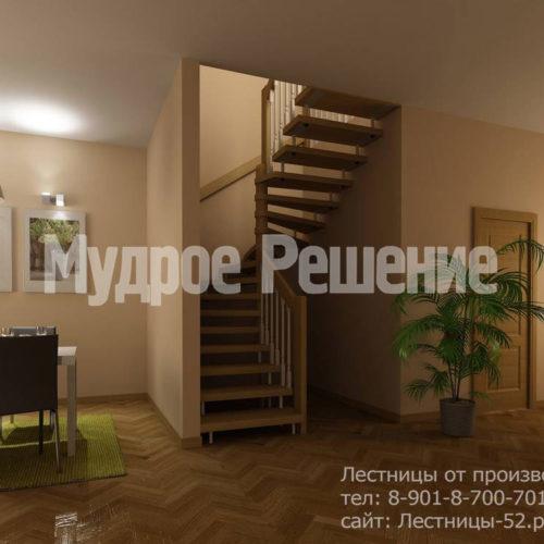Лестница на больцах деревянная вид 1