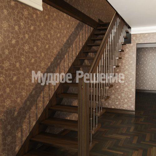 Деревянная лестница на больцах прямая вид 2