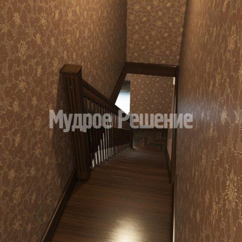 Деревянная лестница на больцах прямая вид 3