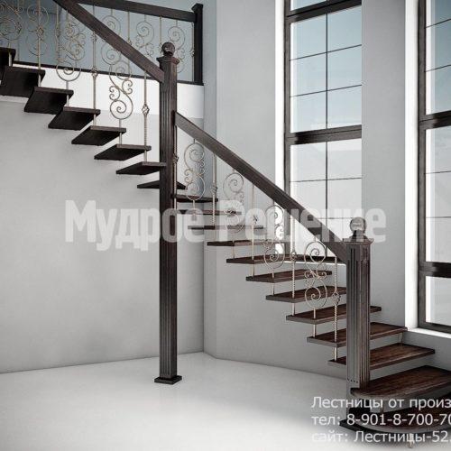 Красивая лестница на больцах вид 1