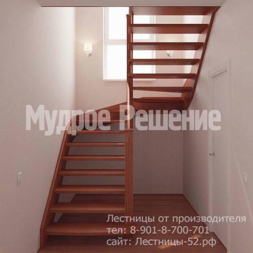 Лестница на больцах из красного дерева вид 2
