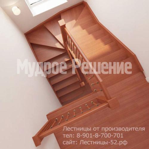 Лестница на больцах из красного дерева вид 5