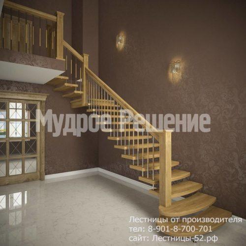 Г-образная лестница на больцах из дерева