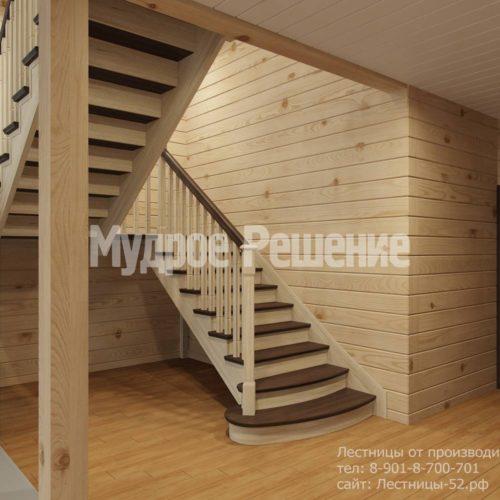 Контрастная лестница на второй этаж вид 1