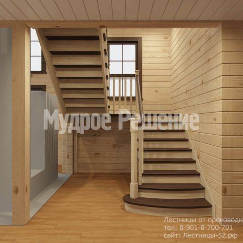 Контрастная лестница на второй этаж вид 2