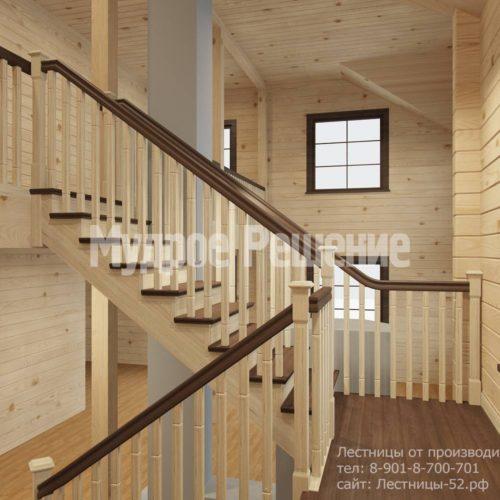 Контрастная лестница на второй этаж вид 5