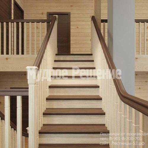 Контрастная лестница на второй этаж вид 6