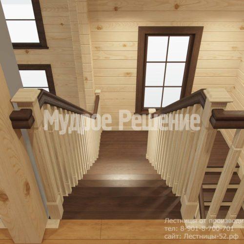 Контрастная лестница на второй этаж вид 7