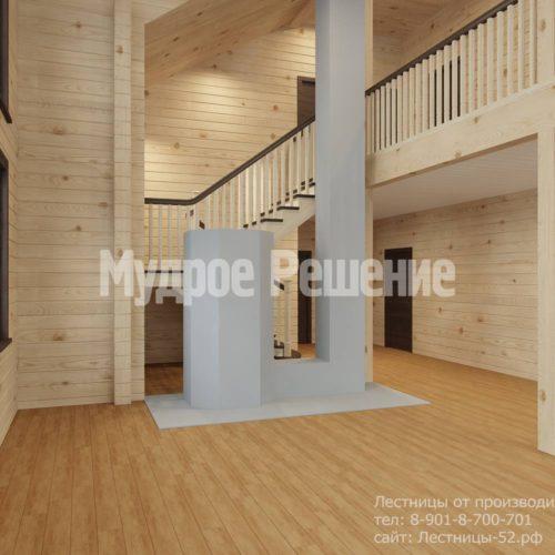 Контрастная лестница на второй этаж вид 8