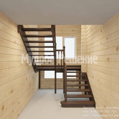 П-образная лестница из темного дерева вид 3