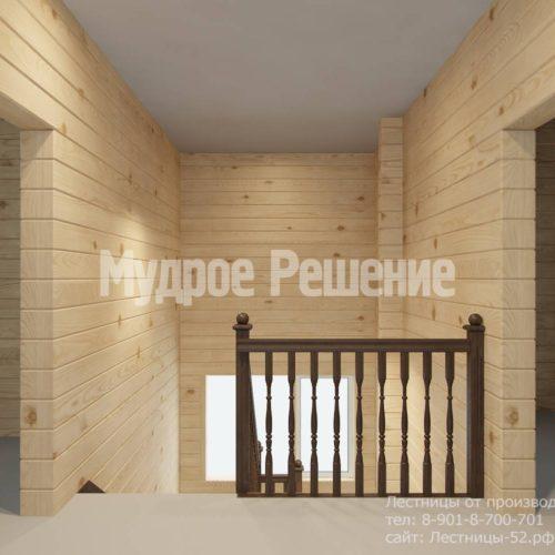 П-образная лестница из темного дерева вид 8