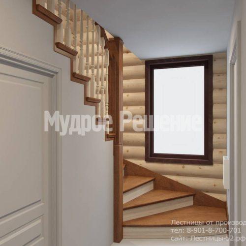 Г-образная лестница из дерева модель 37 вид 1