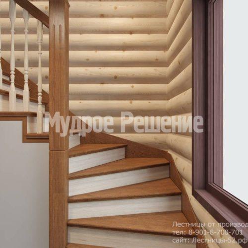 Г-образная лестница из дерева модель 37 вид 2